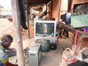 Watching Obama's Inauguration Speech on the Togolese Roadside