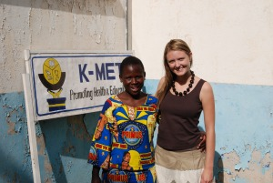 Alison at K-MET with Deborah, the Coordinator of the Food Security Program.