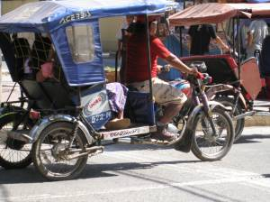 Motorcycle taxi in downtown Pucallpa.