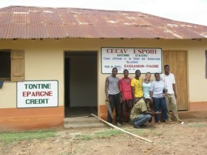 Kira and her Togolese colleagues in front of a FECECAV branch office. SunPower Afrique aims to install solar power at all of FECECAV's branches.