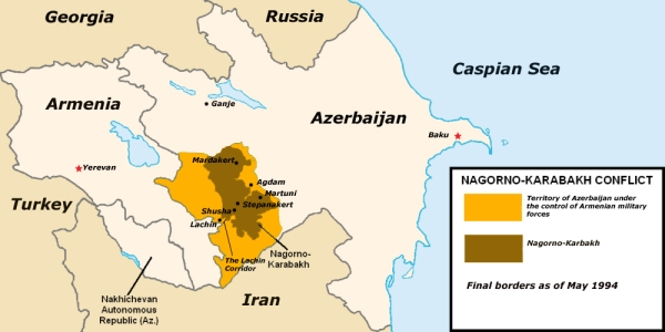 Map of Nagorno-Karabakh and occupied territory