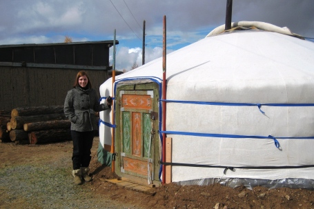 Amber Barger, Kiva Fellow, outside a traditional ger