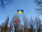 The Ukrainian Flag on the first sunny day in Zaporozhye