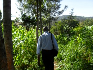 Edward, another Juhudi Kilimo loan officer, visits farmers in Kisii.