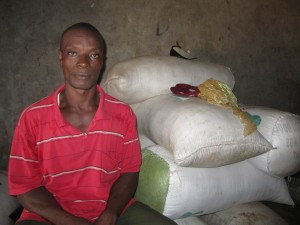 A BRAC Borrower who used his loan to purchase rice, flour, and other grains and dry products.