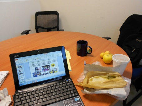 A Kiva Fellow's typical office environment, complete with tamale - Emmanuel von Arx, Mexico