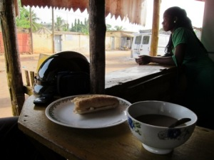 Michael Slattery memorializes one of the smaller Togolese meals he's eaten; perhaps he was not hungry that day.