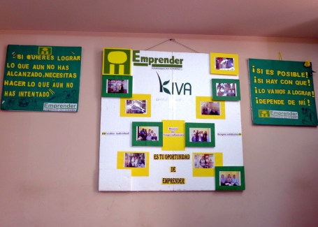 Emprender's Kiva partnership proudly on display at a branch office