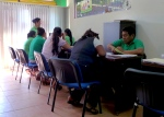 Busy With Borrowers: Emprender loan officers in Santa Cruz working the room