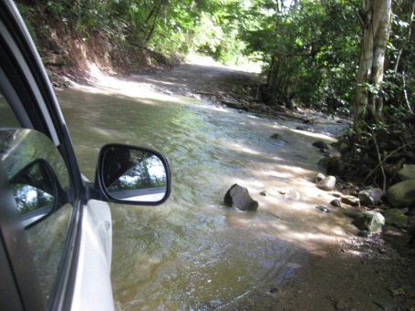 there's only one way to get around this stream - driving through it!