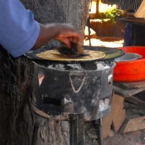 Frying the chapati