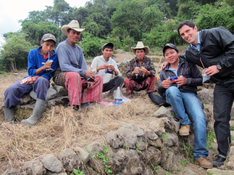 Hanging out with some borrowers in the fields of Sololá