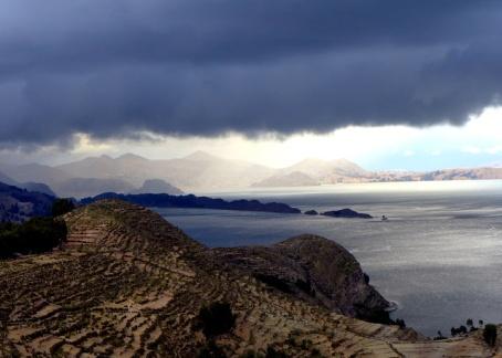 Rain clouds gathering over Island of the Sun, Lake Titicaca