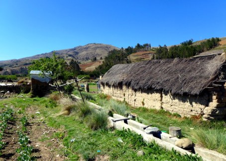 Typical small Bolivian farm: adobe home, thatch roof, adjacent plot and irrigation canal