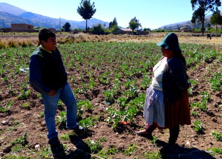 CIDRE loan officer working with a Kiva borrower near Colomi, Bolivia