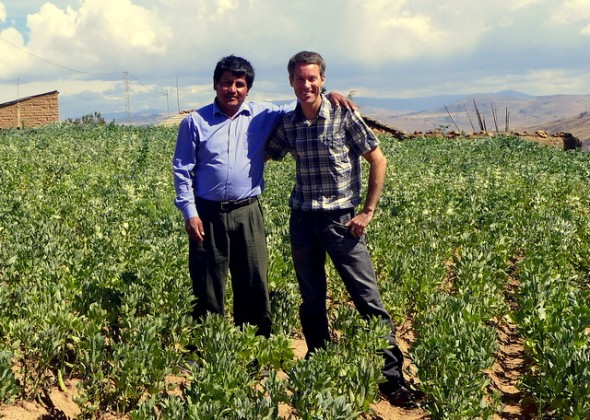 With Señor René in his bean field