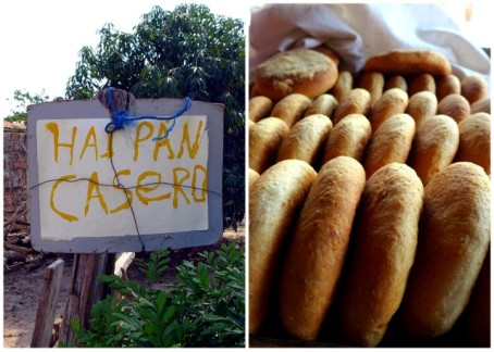 """Homemade Bread"" sign and baked goods on display at Yélica's home"