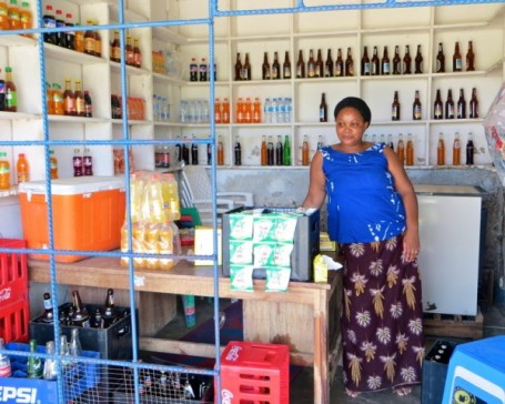Prisca in her store.