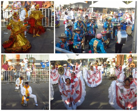 Cumbia dancers and a cumbia band in one of the Carnaval parades.
