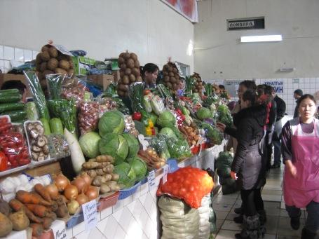 the produce section at Merkuri market