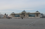 walking across Sukhbaatar Square toward Parliament House