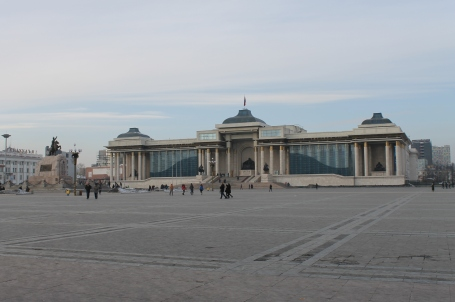 walking across Sukhbaatar Square toward Parliament House