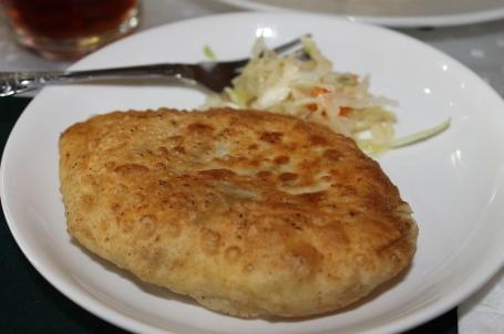 khuushuur - Mongolian fried dumpling with mutton inside