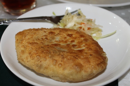 khuushuur - Mongolian fried dumpling with mutton inside