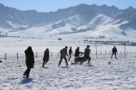 snow football (above) and snow football (below) - two ways to make the most of a Mongolian winter