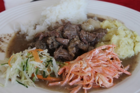 a typical Mongolian lunch - with a more generous salad portion than usual