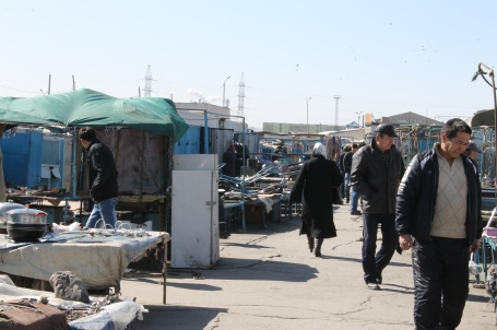 Kharkhorin market (above) and some of the items for sale (below)