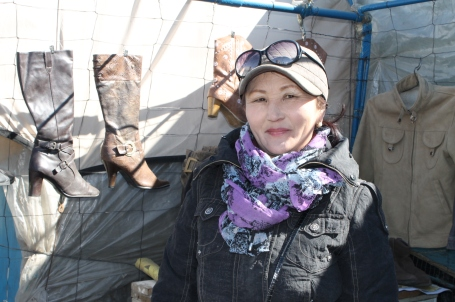 Saranchimeg was busy selling her winter boots when we stopped by