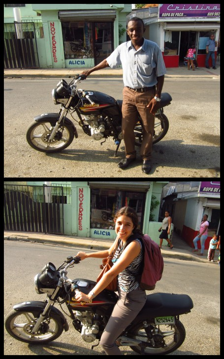Nicolás and I posing with his motorcycle