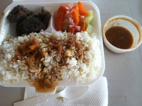 A classic Dominican lunch - white rice, red beans, beef, and carrot/potato salad