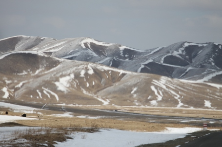 driving through the Mongolian countryside