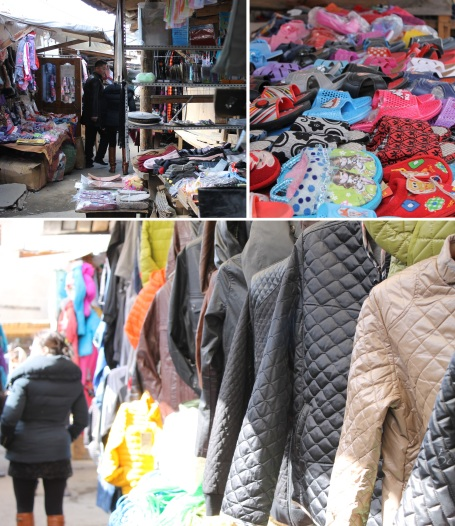 outdoor market in Selenge, where clothing and other wares are sold