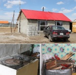 Gombosuren's new home and the stove that heats it