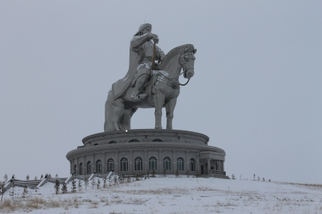 a massive silver statue of Chinggis Khan looms 40m high on a site where, as legend has it, he found his golden whip