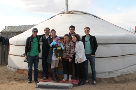 us Kivans with Ariunbold and his family, outside their ger