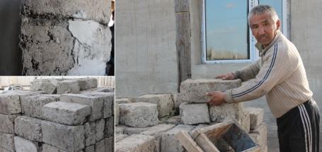 Enkhtuya's husband describing how he makes the bricks that insulate his house