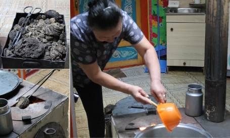 Ariunbold's mother preparing tea for us, using the stove they sometimes feed with animal dung