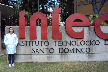 Crisley in her doctor's coat at INTEC, her university in Santo Domingo
