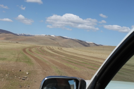 driving along a Mongolian superhighway